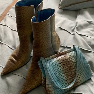 Multi Cover booties and matching bag